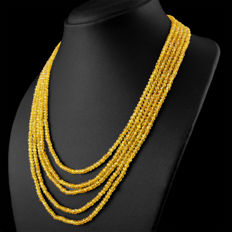Citrine necklace with 18 kt (750/1000) gold, length 50cm