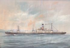 Watercolor painting of the Belgian merchant ship Sachmore dated 1908