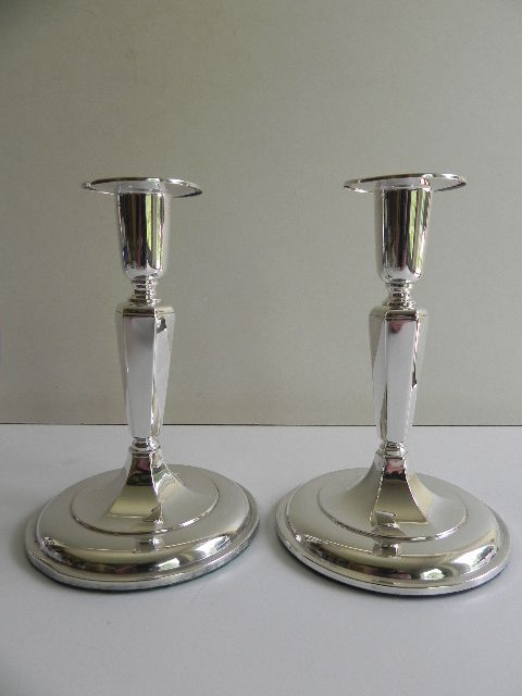 Set of silver candlesticks, K&EC, Gothenburg Sweden, 1955