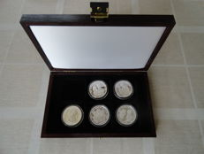 "Liberia - 20 Dollars 1997 ""In memory of Diana Princess of Wales"" (5 different coins) - silver"