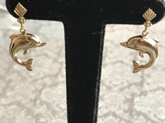 Gold ear studs with dolphin 14 kt