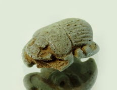 Egyptian faience scarab amulet - 22 mm