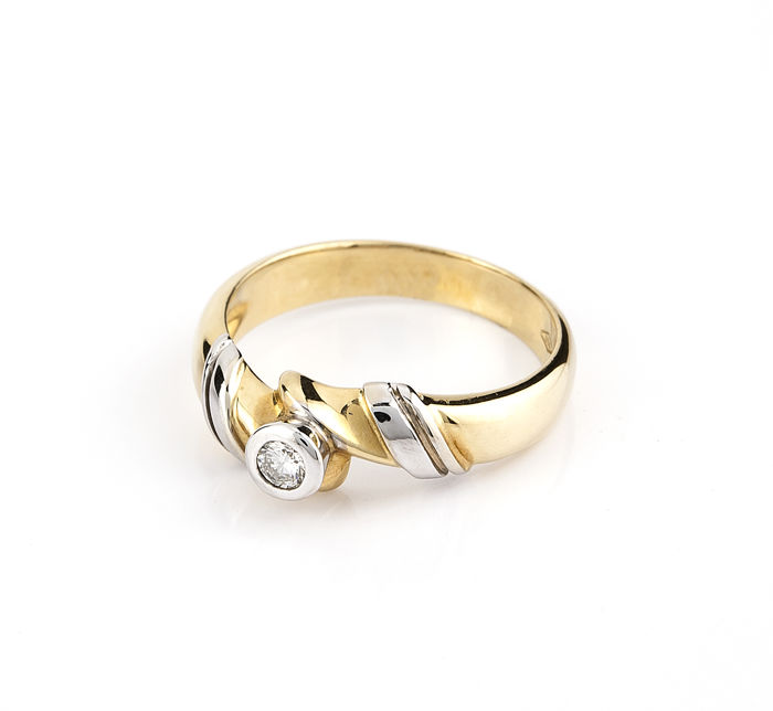 18 kt yellow and white gold - Cocktail ring - Brilliant cut diamonds of 0.15 ct - Inner diameter of 17.60 mm (approx.)
