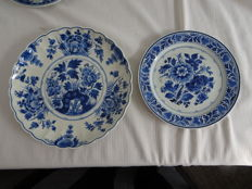 Porcelyne Fles - 2 Wall plates with floral decor, 1 with scalloped edge