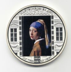 Cook Islands - 20 Dollars 2014 'Master of Art - Jan Vermeer' with 16 Swarovski crystals - silver