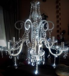 Crystal glass chandelier in Maria Theresa style - 31% lead crystal - Italy, 1980s