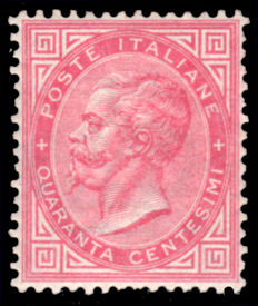 Italy, Kingdom, 1863 - 40 cent, carmine pink, printed in Turin - Sass. No. T20