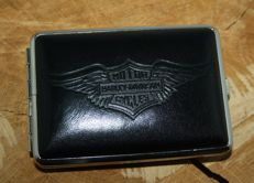 Cigarette case - Harley-Davidson - genuine black leather