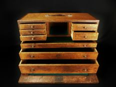 Old wooden travel writing desk, 8 drawers - France - 19th century
