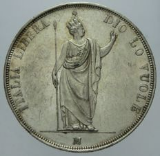 Provisional Government of Lombardy, 1848 - 5 Lire - Milan - silver