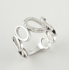 18 kt white gold ring with ovals and diamonds - Size:  16.5 mm 12/52 (EU)