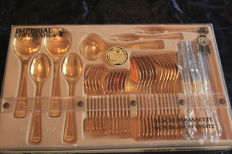 IMPERIAL OLYMPIA cutlery set - 37 pieces - 23/24 karat - hard gold-plated, 1000 fine gold, new