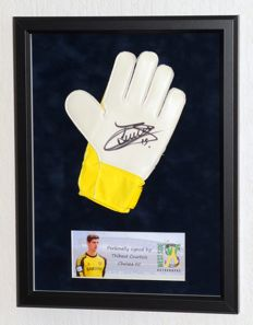Thibaut Courtois original autographed goalkeepers glove - Deluxe Framed + COA
