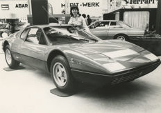Ferrari  365 GT BB  original black and white Motor Show  press photograph