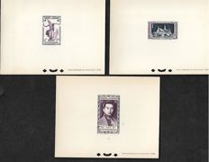 Cambodia 1952 – 3 deluxe block sheets – Yvert no. 1, 2 and 3.