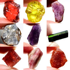 Lot of Garnet, Ruby, Sapphire, Amethyst and Tourmaline - 92.92 ct (9)