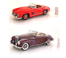 Franklin Mint - scale 1/24 - Mercedes 300 SL Roadster 1960 with certificate of B11XA16 and Mercedes Benz 300 SC Cabriolet 1957 B11UG29