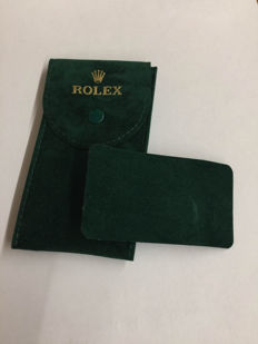 Rolex watch travel case in green velvet.  Used, in excellent condition.