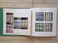 Spain 1959/70 - Lot of complete series in block mounted on album.