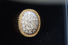 Ring 585/14 kt gold diamond of 0.30 ct in total - Size: 21