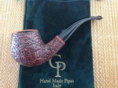 "Unsmoked Paolo Corso pipe, ""Black Bass"", full bent shape, beautiful blasted briar, hand made in Italy!!"