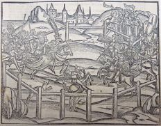 Gruninger Master - Inunabula woodcut on folio leaf - Tournament, Joust, Knights in Armor - 1502