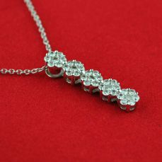 Diamond Pendant and Chain with 35 Diamonds +/- 0.75CT set on 18k/750 (stamped) White Gold - Size 23mm x 5mm + Chain 39cm
