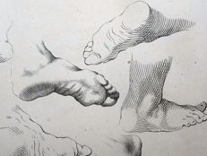 Abraham Bloemaert (1566-1651) - copper engraving - Study of Feet & Female Head - 1660