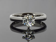 14K White Gold Ring with created Moissanite - Size 54 (ø 17.2 mm)