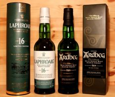 2 bottles - Laphroaig aged 16 Years Limited Edition, 35cl, 43.0%vol.  + 2. Ardbeg Ten years old, 35cl, 46%vol.