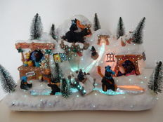 Very large and beautiful bear village in luminescent optical fibre of all colours for Christmas - New Jersey - United States
