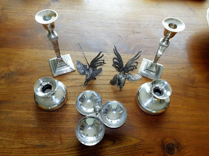 Various silver plated items, Rooster, vases, candle holder and serving dish