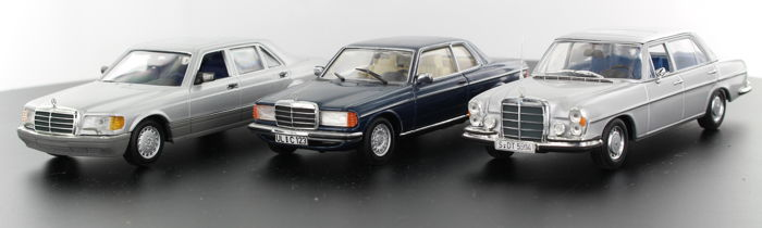 Minichamps - Scale 1/43 - Lot with 6 models: Mercedes-Benz 300 SEL 1967-72, Mercedes-Benz 230CE & Mercedes-Benz 560 SEL  Mercedes - Benz CLK - Mercedes - Benz CLS klasse  - Mercedes - Benz C180/280