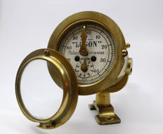 Naval sliding indicator in brass - Lugon, early 20th century