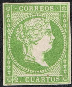 Spain 1856/1859 - Isabel II Two quarters, green - Edifil 47