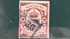 Germany Oldenburg 1859 - 2 grossen coat of arms, three expert marks - Michel 7