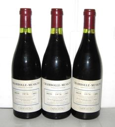 1976 Chambolle-Musigny, S.D.F. (M. Hudelot) – Lot of 3 bottles.
