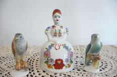 2 Beautiful porcelain birds by Herend Hungary and a girl by Kalocsa Hungary