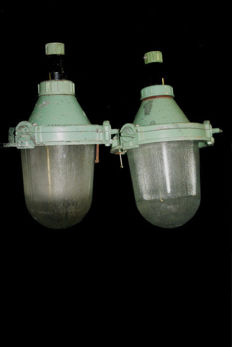 Unknown designer - Green industrial bully lamps (2)