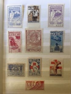 Spain 1936/1939 - Civil War. Lot of 300 stamps and patriotic sheets and locals.