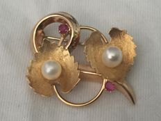 Vintage brooch with pearls and rubies – 1950s