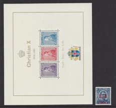Iceland 1926 - Overprint 1 Crown on 40 Aur and King Christian - Michel 121 and Block 1