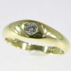 Vintage unisex solitair with 0.18ct brilliant from the fifties