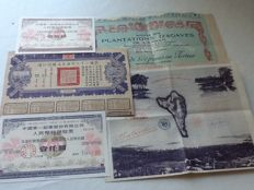 China and France, a small collection of stocks and bonds, 5 pieces