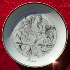 "Salvador Dali - ""The 7 arts of Salvador Dali"" plate - porcelain - fine gold gilding"