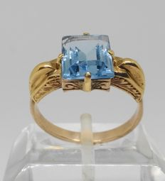 9 kt yellow gold ring - Early 20th century - With blue stone