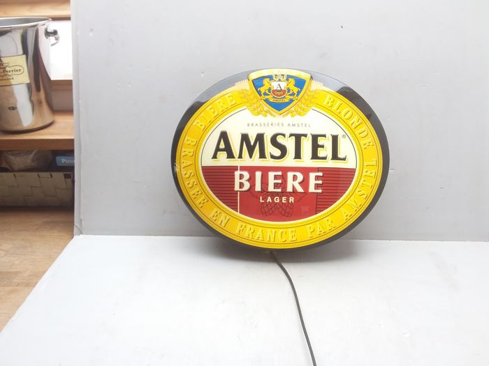 Illuminated advertising of plastic - Amstel beer - France 1985.