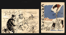 Original drawing illustrating the novel 'Cayauval, gai village' (volume II) by Arthur Masson - 1951