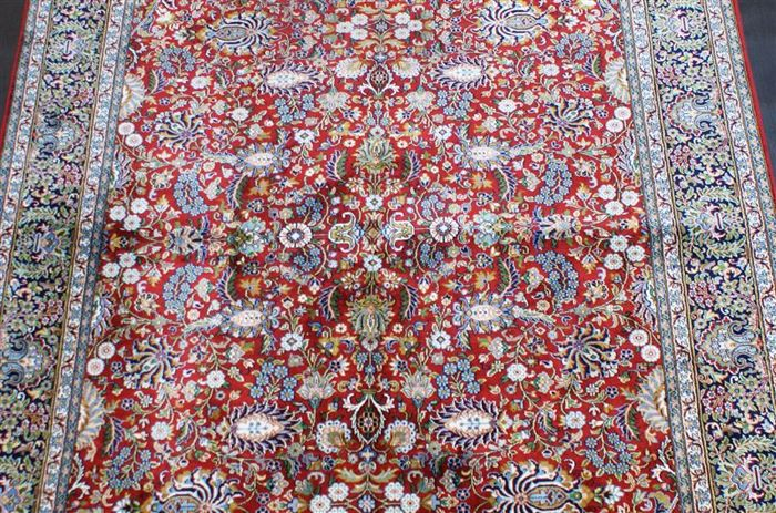 Hand-knotted original silk carpet, Kashmir silk on cotton, approx. 220 x 153 cm, fine knotting, over 600,000 knots, genuine unique piece