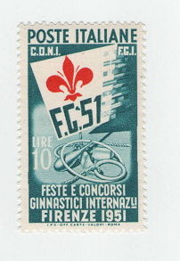 "Italy, Republic, 1951 - Celebrations and International Gymnastics Competitions, 10 lire with triangle variation between ""G"" and ""5"" - Unified, no. 662Db"